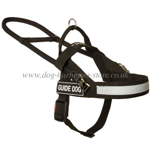 dog harness of black nylon, best lightweight guide dog harness
