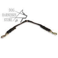 Double Lead of Braided Leather for Two Dogs, Leash Coupler UK