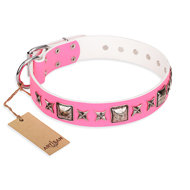 "Female Dog Collar ""Lady in Pink"" FDT Artisan, Stars and Studs"