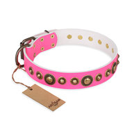 "Girl Dog Collar FDT Artisan ""Pink Gloss"" with Bronze-Like Studs"