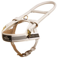 White Leather Dog Harness for Guide Dogs with Handle-Frame