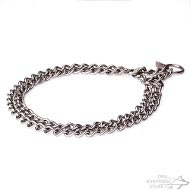 Half-Check Dog Collar of Matted Stainless Steel Double Chain