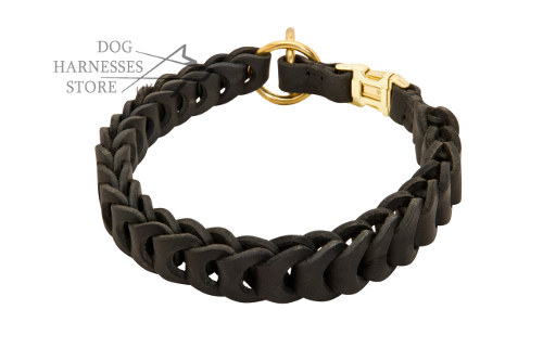 Dog Collar Choker of Braided Leather for Obedience Training