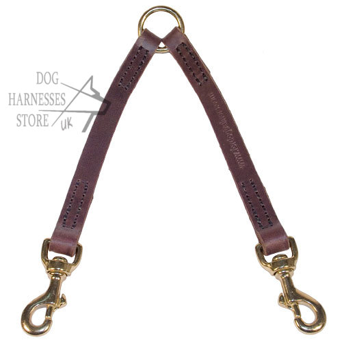 Coupler Lead for Two Dogs Easy Walking, Leather Leash Coupler