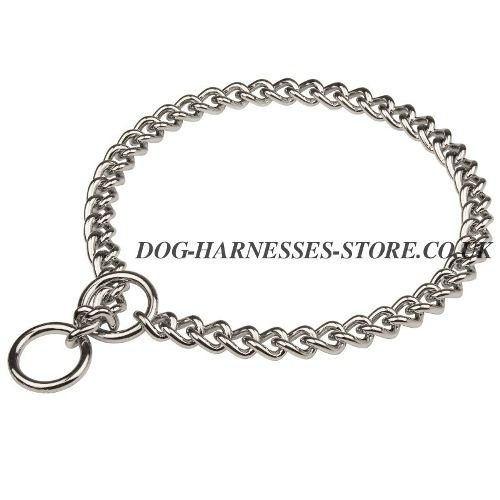 Dog Chain Collar of Chrome-Plated Steel for Behavior Control