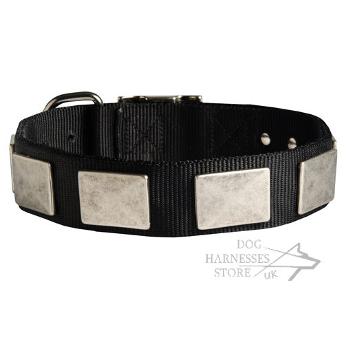 Dog Walking Collar Nylon with Old-Like Wide Nickel Plates