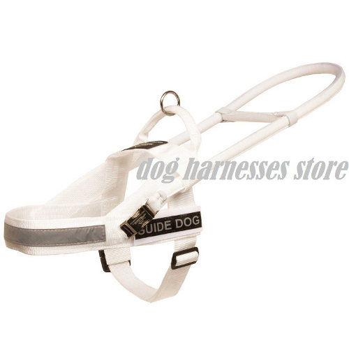 Guide Dog Harness of White Nylon with Hard Handle for Labrador