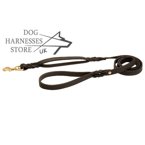 Leather Dog Leash UK with Extra Handle and Braided Decoration