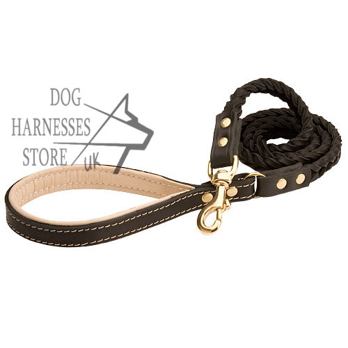 New Braided Leather Dog Lead with Padded Handle, Dog Leash