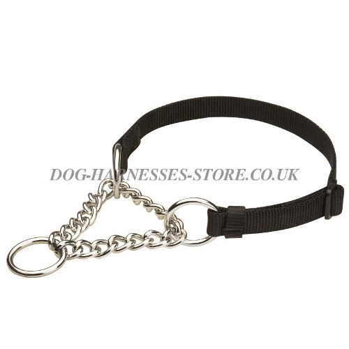 Martingale Dog Collar, Half Check, Strong Nylon and Sound Chain