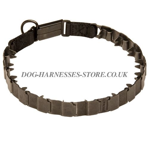 Neck Tech Dog Collar of Black Stainless Steel, Herm Sprenger