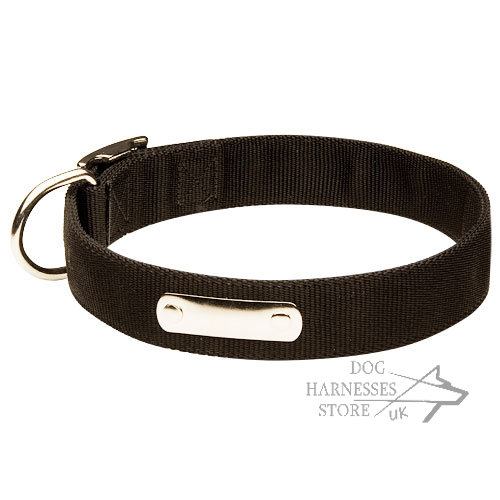 Nylon Dog Collar with Blank ID Tag-Name Plate for Safe Walks