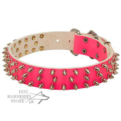 Pink Spiked Dog Collar Rock Style for Female Canine Walking