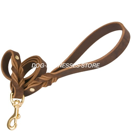 Leather Dog Leash UK with Braids Decoration
