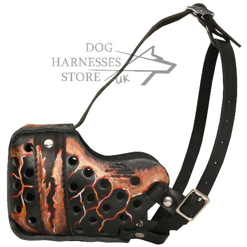 "Designer Dog Muzzle with ""Magma Flow"" Painting"