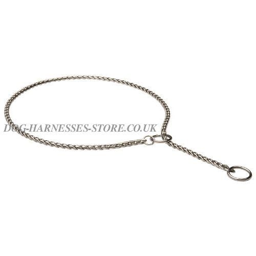 "Dog Choke Chain Collar ""Snake"" Style for Training and Shows"