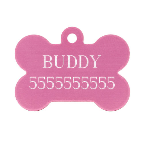 Dog ID Tag Bone with Custom-Made Personal Engraving - Click Image to Close