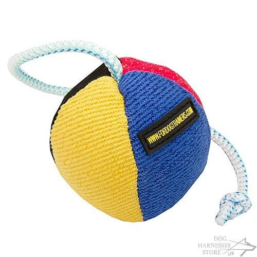 Dog Toy Ball on String for Training and Games, Soft and Stuffed