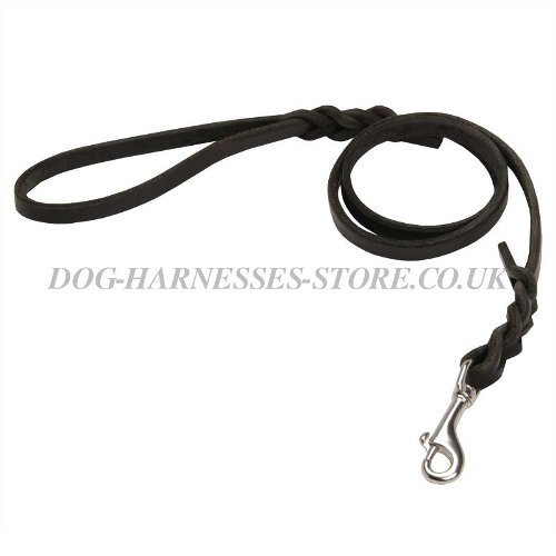 Leather Dog Leash with Snap Hook of Stainless Steel and Braids