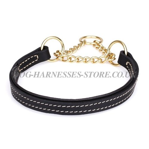 Leather Martingale Collar Black Nappa Lining for Dog Control