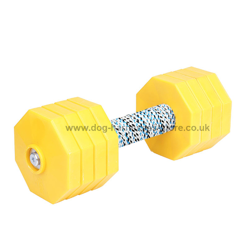 Plastic Dumbbell for Dogs with 8 Removable Yellow Plates - 2 kg