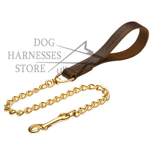Dog Walking Lead, Soft Leather Handle & Brass Chain, Exclusive