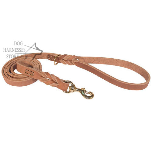 Leather Dog Leash Braided for Professional Training, Walking