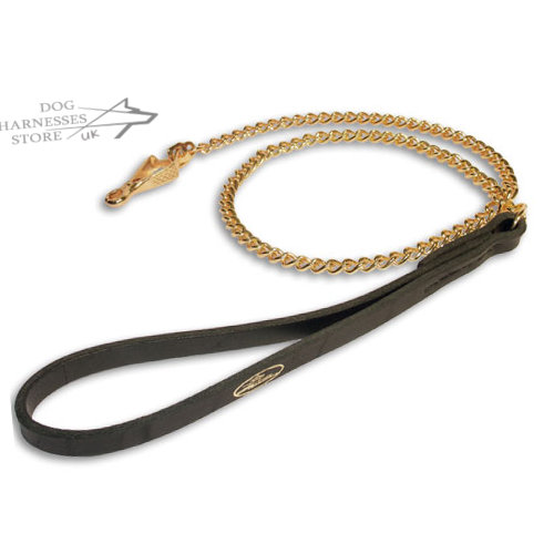 Gold Plated Chain Dog Leash with Leather Handle