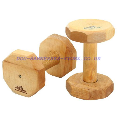 Dog Dumbbell of Quality Wood for Retrieve Training