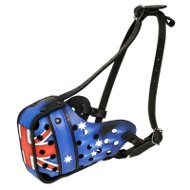 Australian Style Patriotic Hand Painted Leather Dog Muzzle