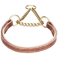 Leather Martingale Dog Collar with Brass-Plated Chain and Nappa