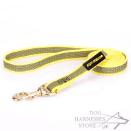 Non-Slip Dog Leash of Rubberized Yellow Nylon