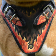 Designer Dog Harness for Pitbull Terrier UK with Flame Pattern