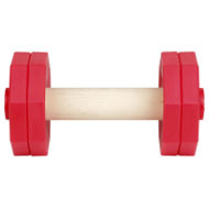 Dog Retrieve Training Dumbbell of Red Plastic and Natural Wood