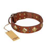 "Tan Leather Dog Collar ""Flight of Fancy"" FDT Artisan with Rhombi"