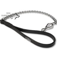 Dog Chain Leash with Leather Handle by Herm Sprenger