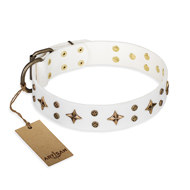 "White Leather Dog Collar by FDT Artisan ""Bright Stars"" of Brass"