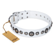 "White Leather Dog Collar ""Ice Age"" FDT Artisan with Round Plates"