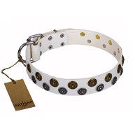 "White Leather Dog Collar with Studs Mix ""Snowflake"" FDT Artisan"