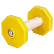Wooden Dumbbell for Dogs with Removable Yellow Weight Plates