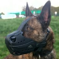 Herder Dog Muzzle of Natural Leather for Training and Working