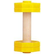 Retrieve Dog Training Dumbbell of Wood and Bright Yellow Plastic